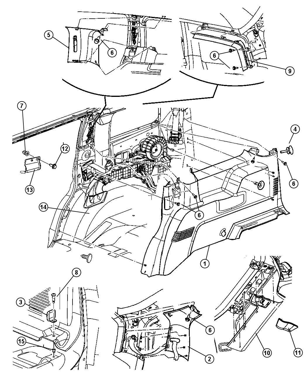 Chrysler Aspen Panel. Rear header. Center belt bezel