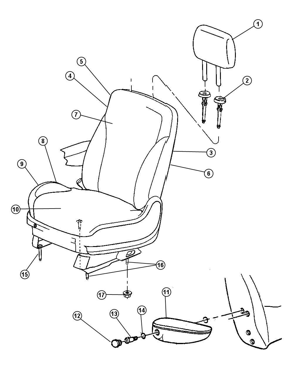 Chrysler Pacifica Sleeve. Headrest. Locking. [da]. Trim