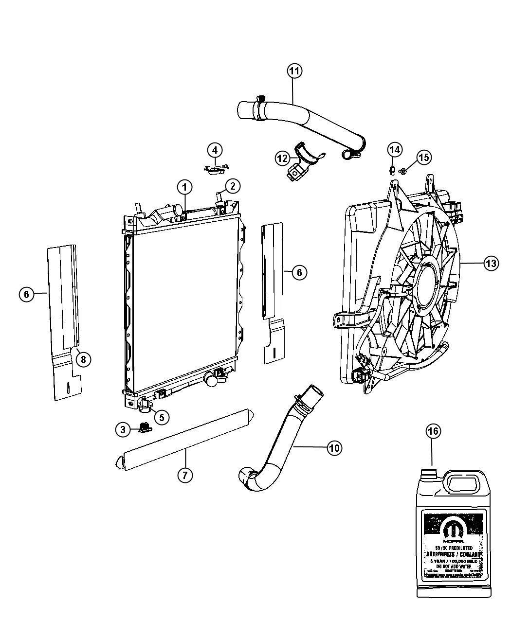 Chrysler Pt Cruiser Isolator. Lower, upper. Radiator