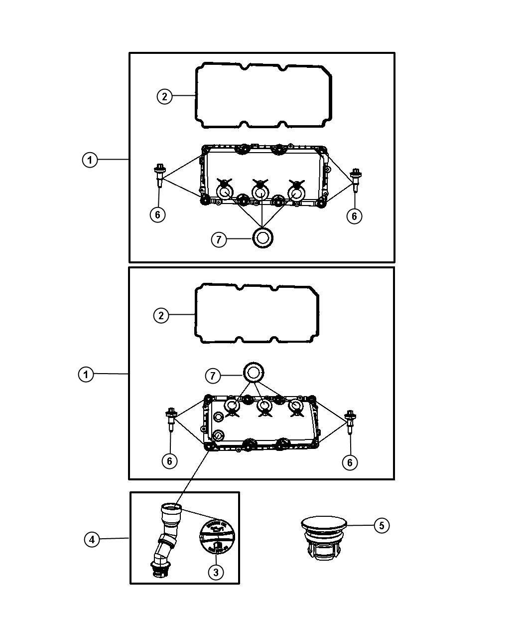 Dodge Grand Caravan Tube. Oil filler. Includes item 3