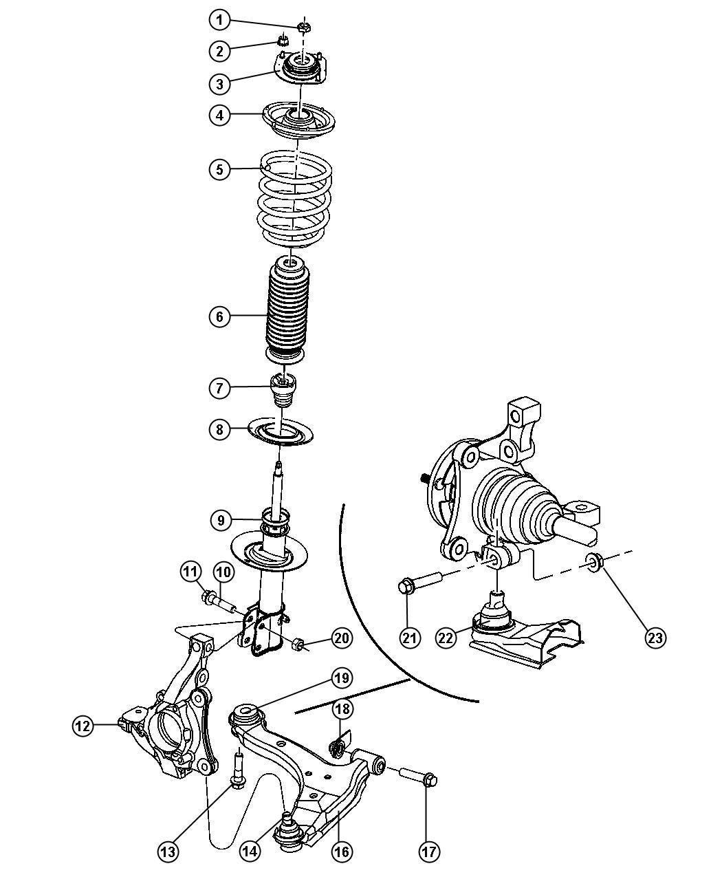 Chrysler Pt Cruiser Damper. Strut. [normal duty suspension