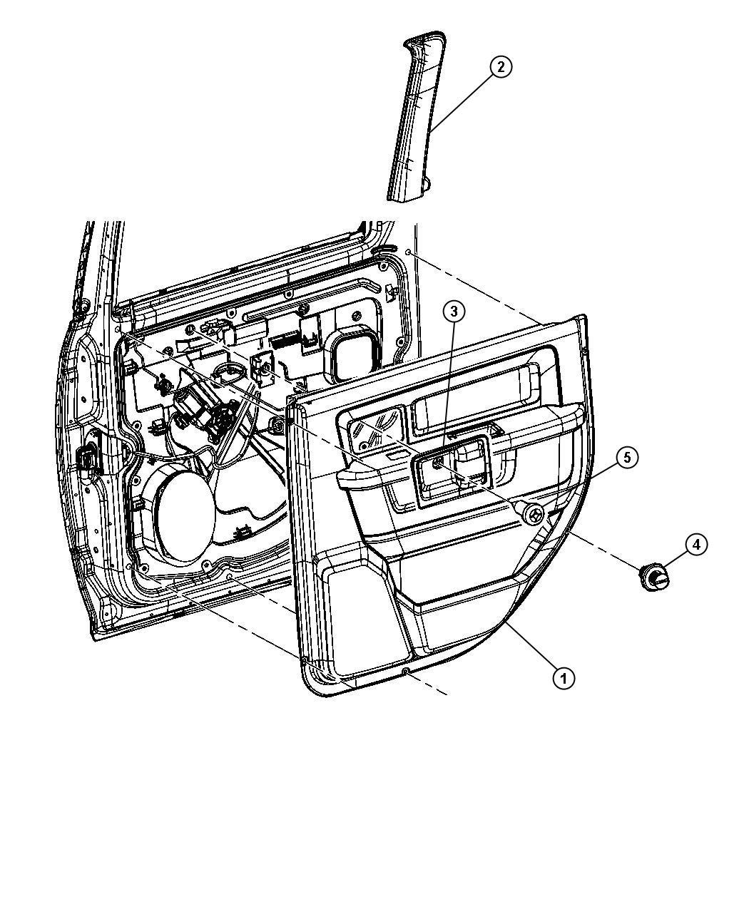 Dodge Ram 1500 Panel. Rear door trim. Right. [v3], with