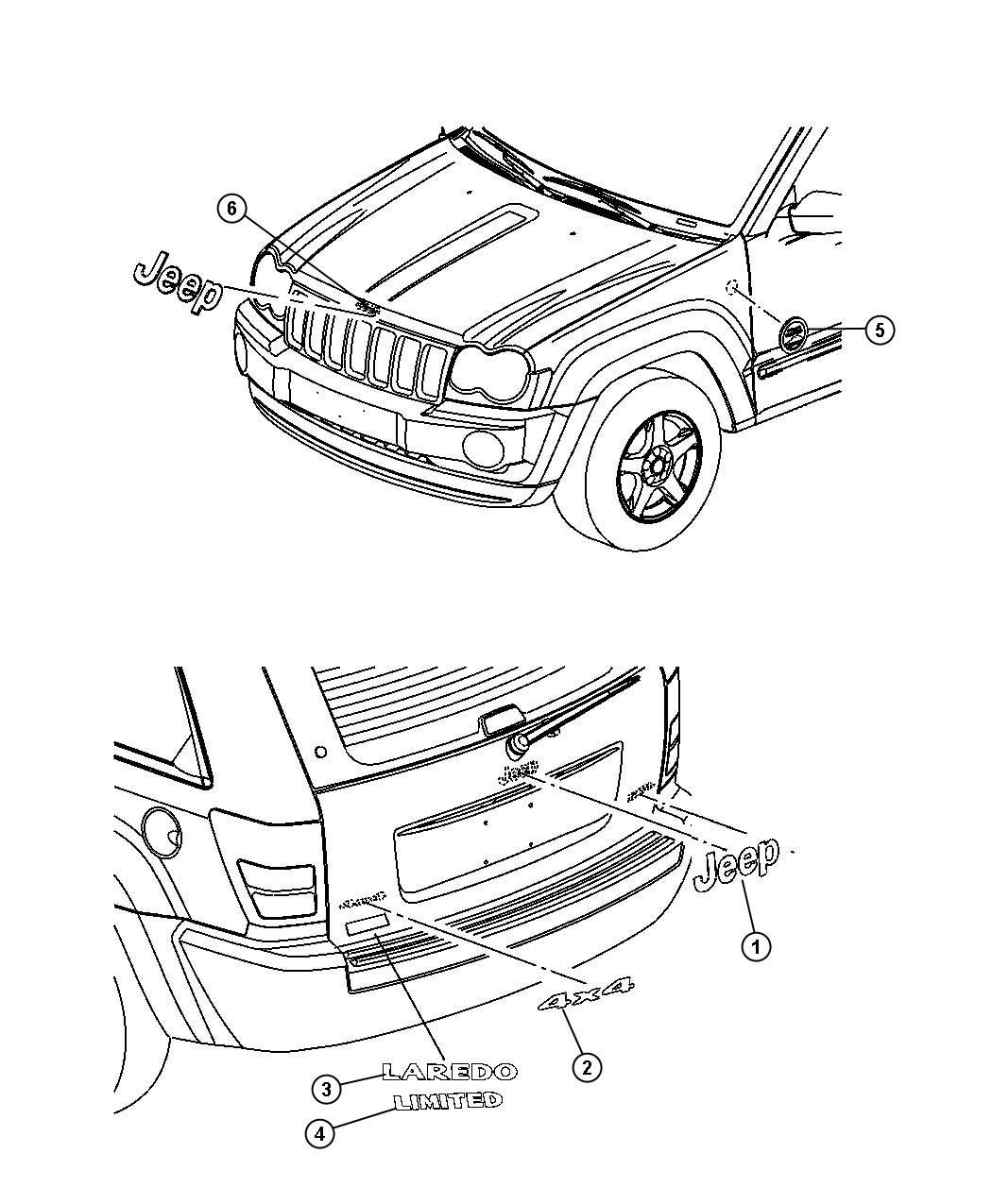 Jeep Liberty Nameplate. Hood. Jeep. Liftgate. [jeep badge