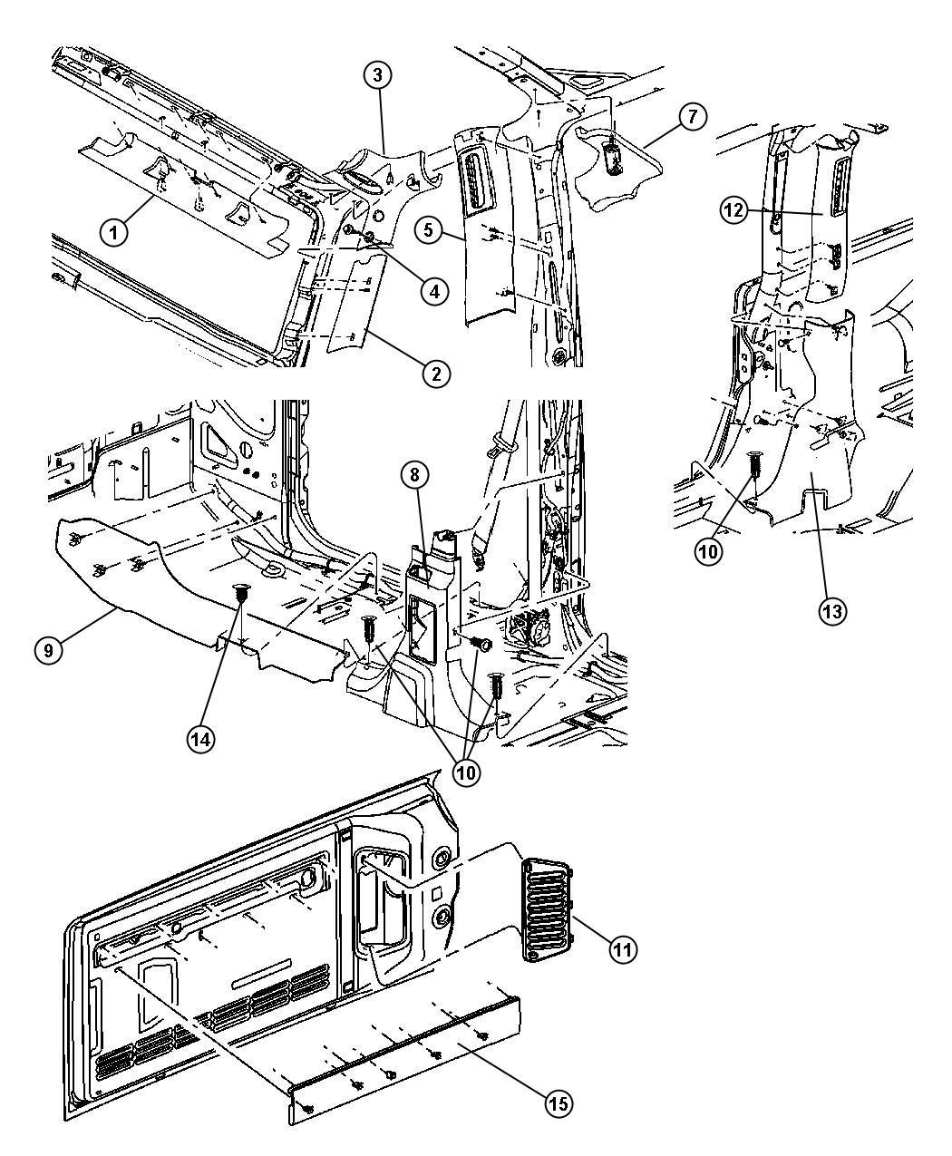 Jeep Wrangler Molding B Pillar Right Trim All Trim