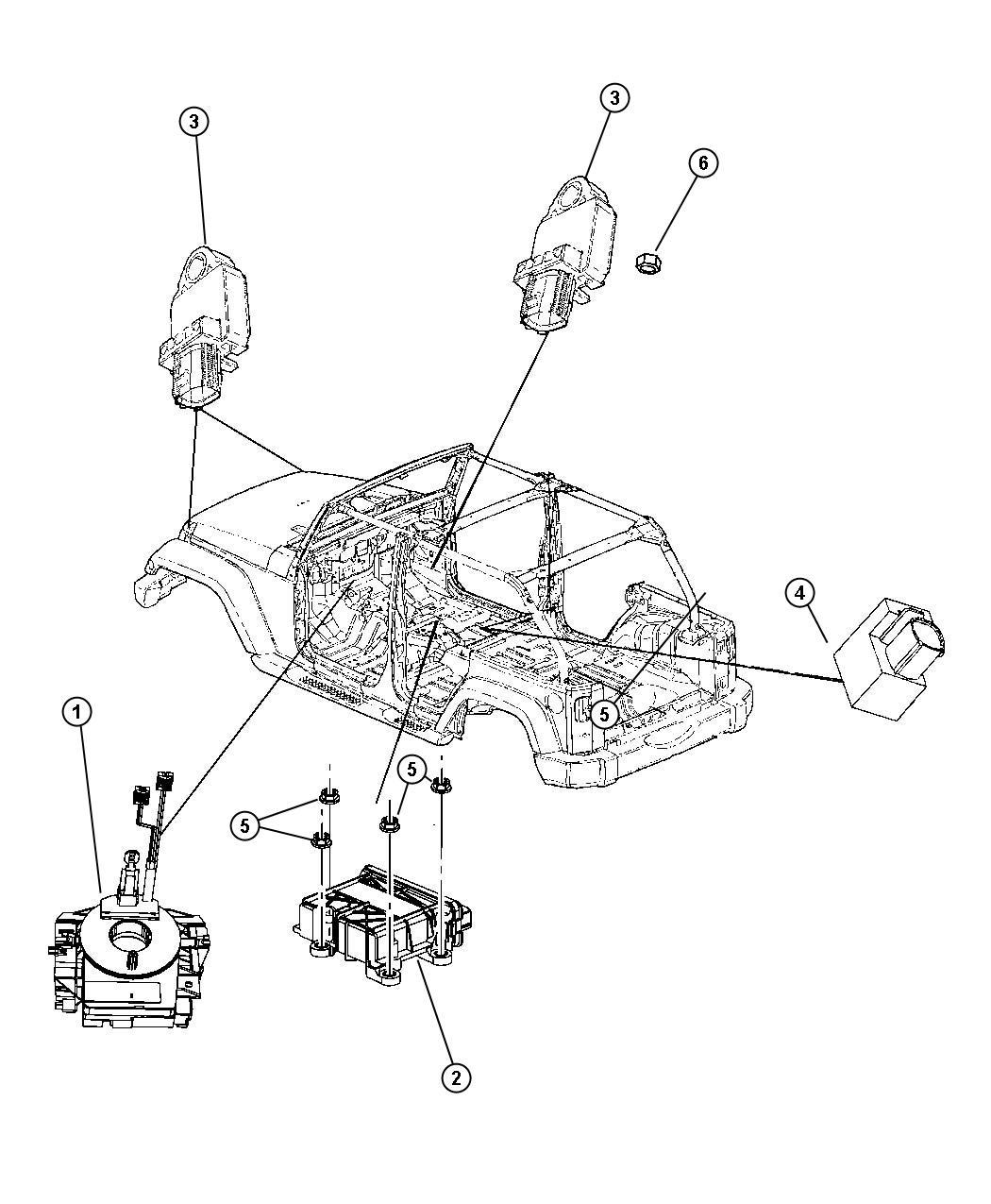 Jeep Wrangler Sensor. Air bag, impact. Front