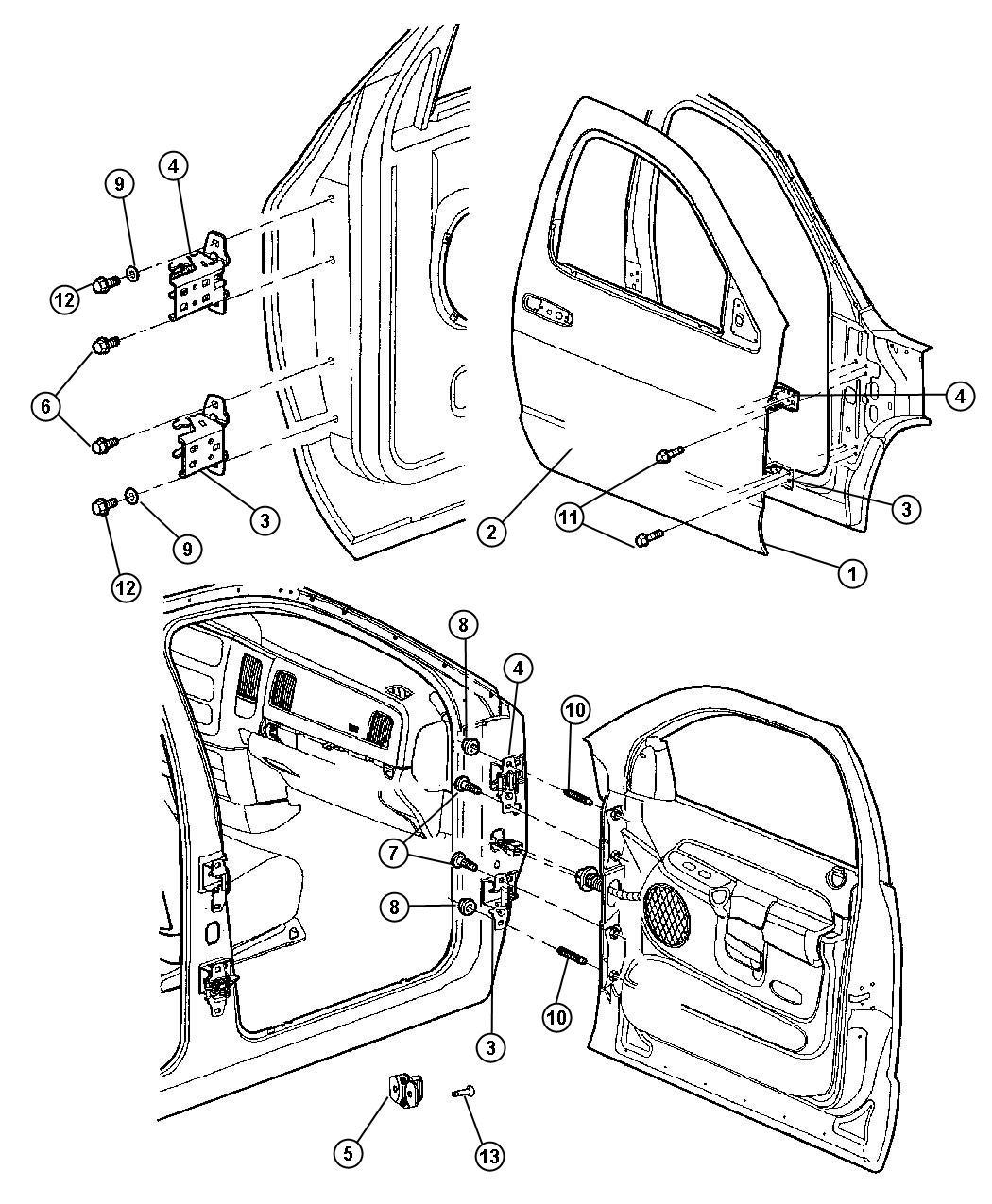 2005 Dodge Ram 1500 Hinge. Door. Left, upper left