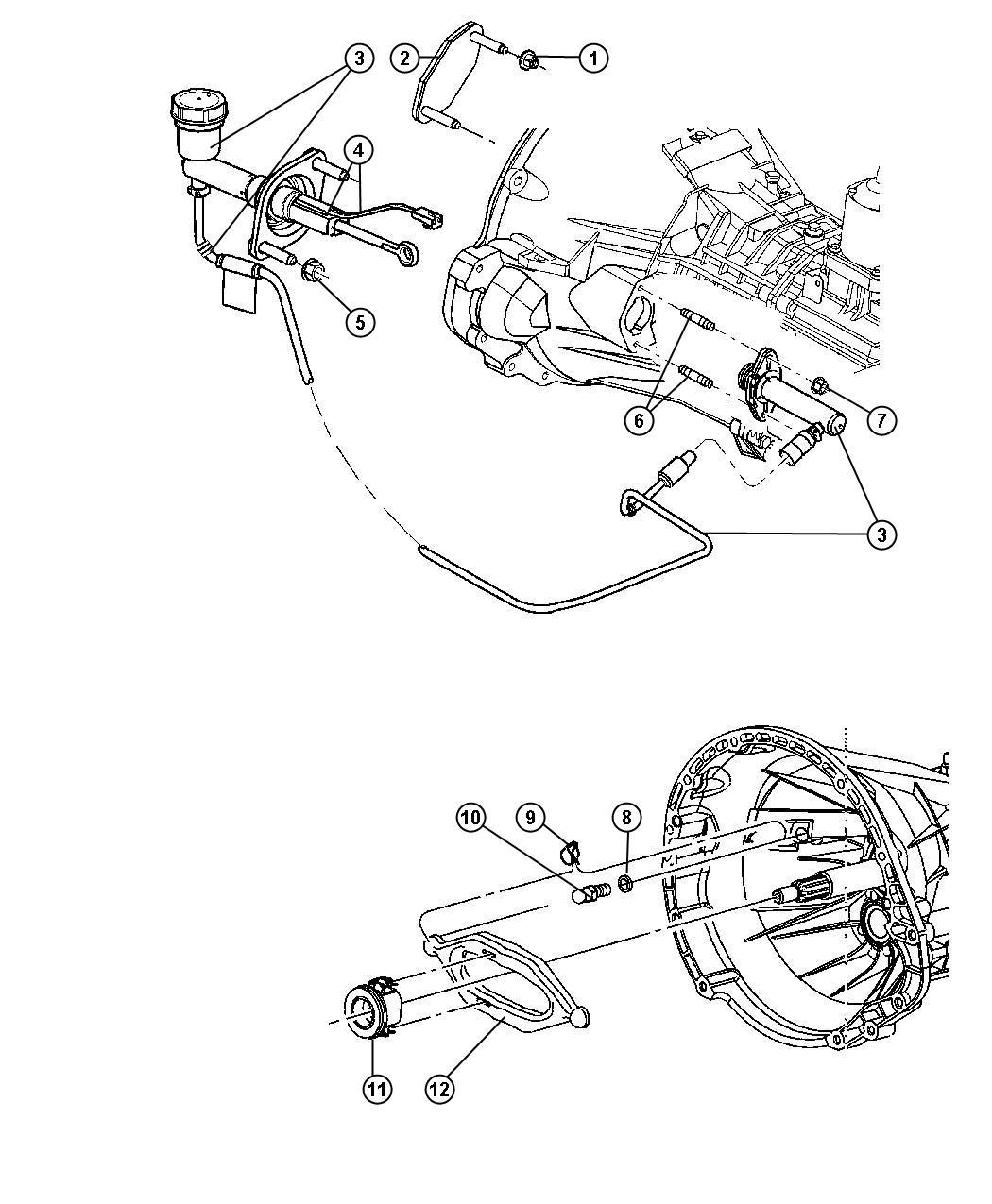 RAM 3500 Hydraulic assembly. Clutch master cylinder