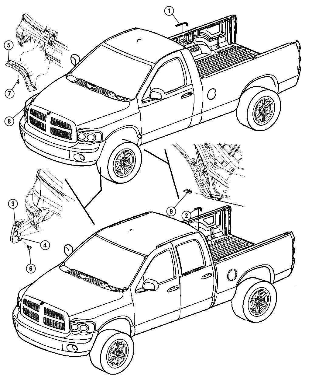 2008 Dodge Ram 4500 Molding. Wheel opening flare. Right