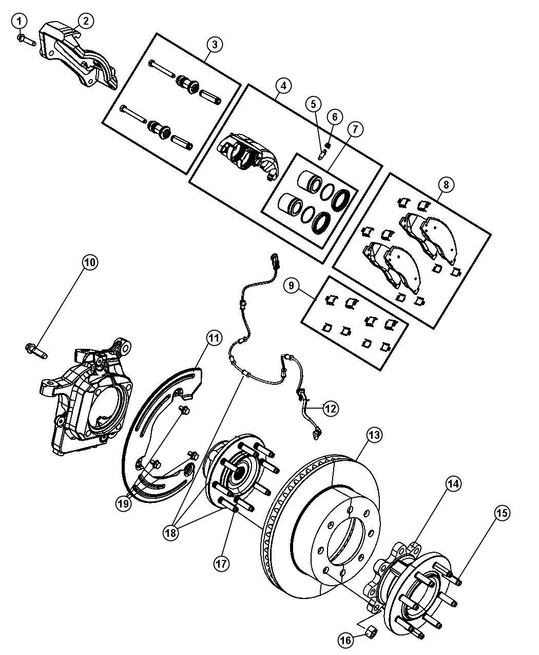 Dodge Ram Adapter Disc Brake Caliper Front