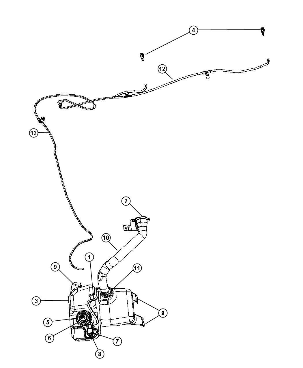 Chrysler Pacifica Filler neck. Washer reservoir. [[var