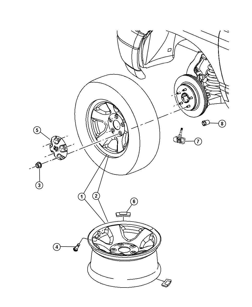 Dodge Ram 1500 Module. Tire pressure monitoring. Front