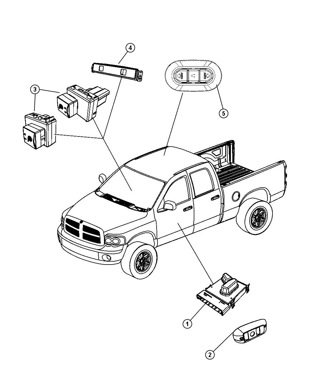 Dodge Ram 1500 Switch. Sunroof. Trim: [all trim codes