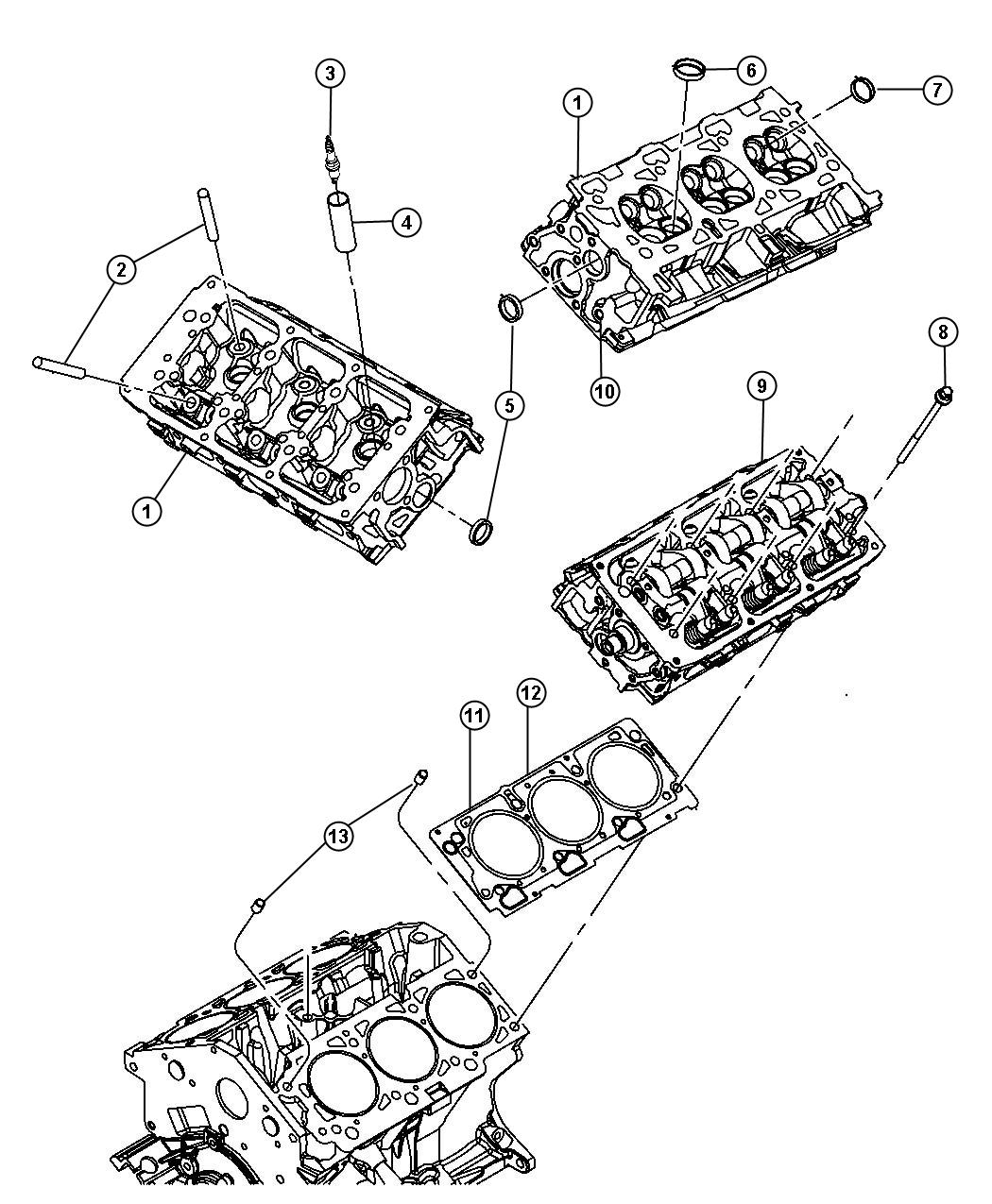 Chrysler Sebring Gasket. Cylinder head. Left, right. On