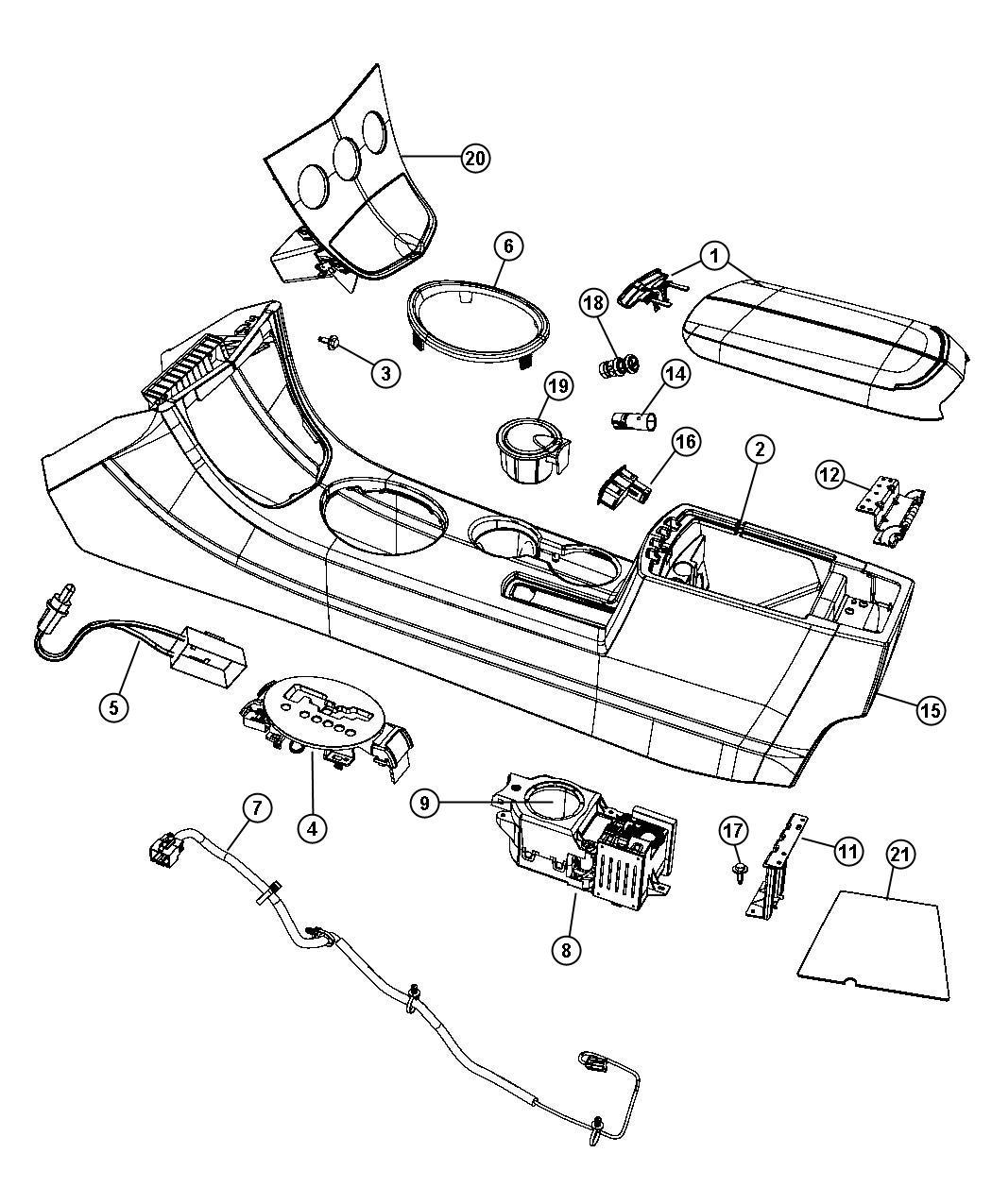 Chrysler Sebring End cap. Console. [dk/lt slate gray], [db