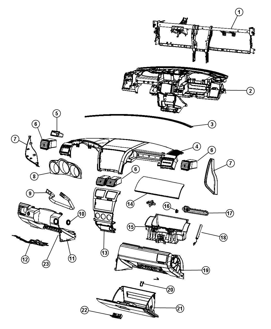Dodge Avenger Glove box. Instrument panel. [d1], [di], [j1