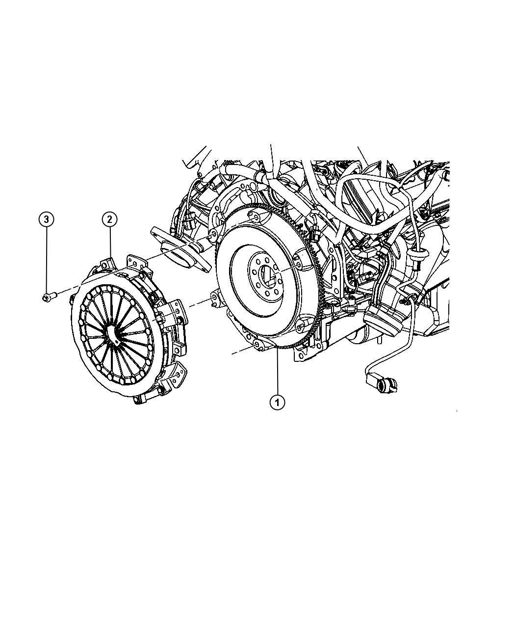 Dodge Challenger Flywheel. Mounting. Manual transmission