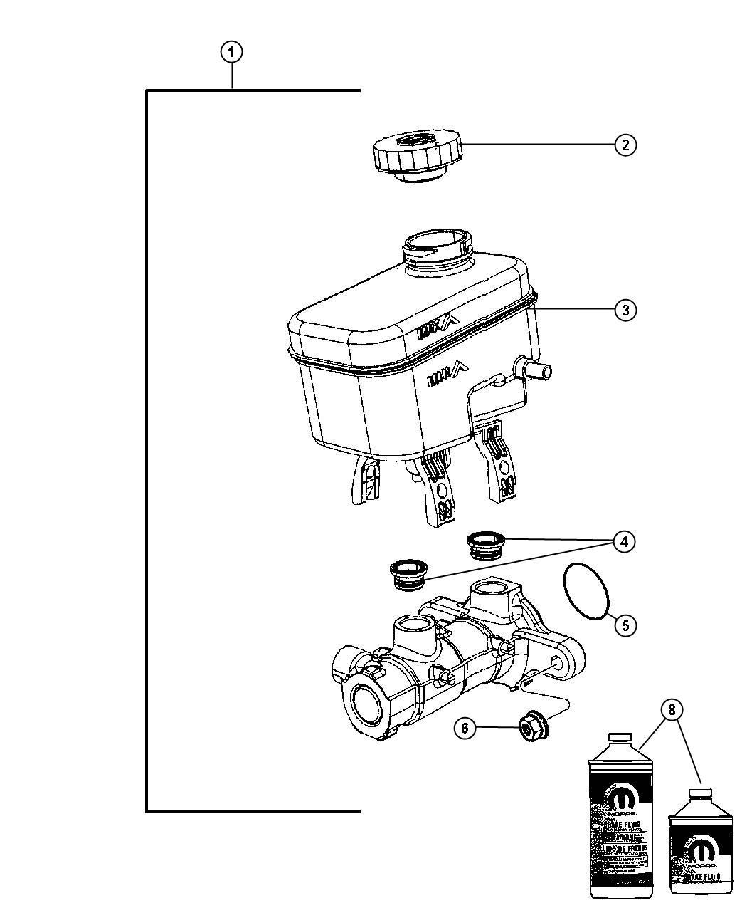 2010 Jeep Wrangler Master cylinder. Brake. Brw