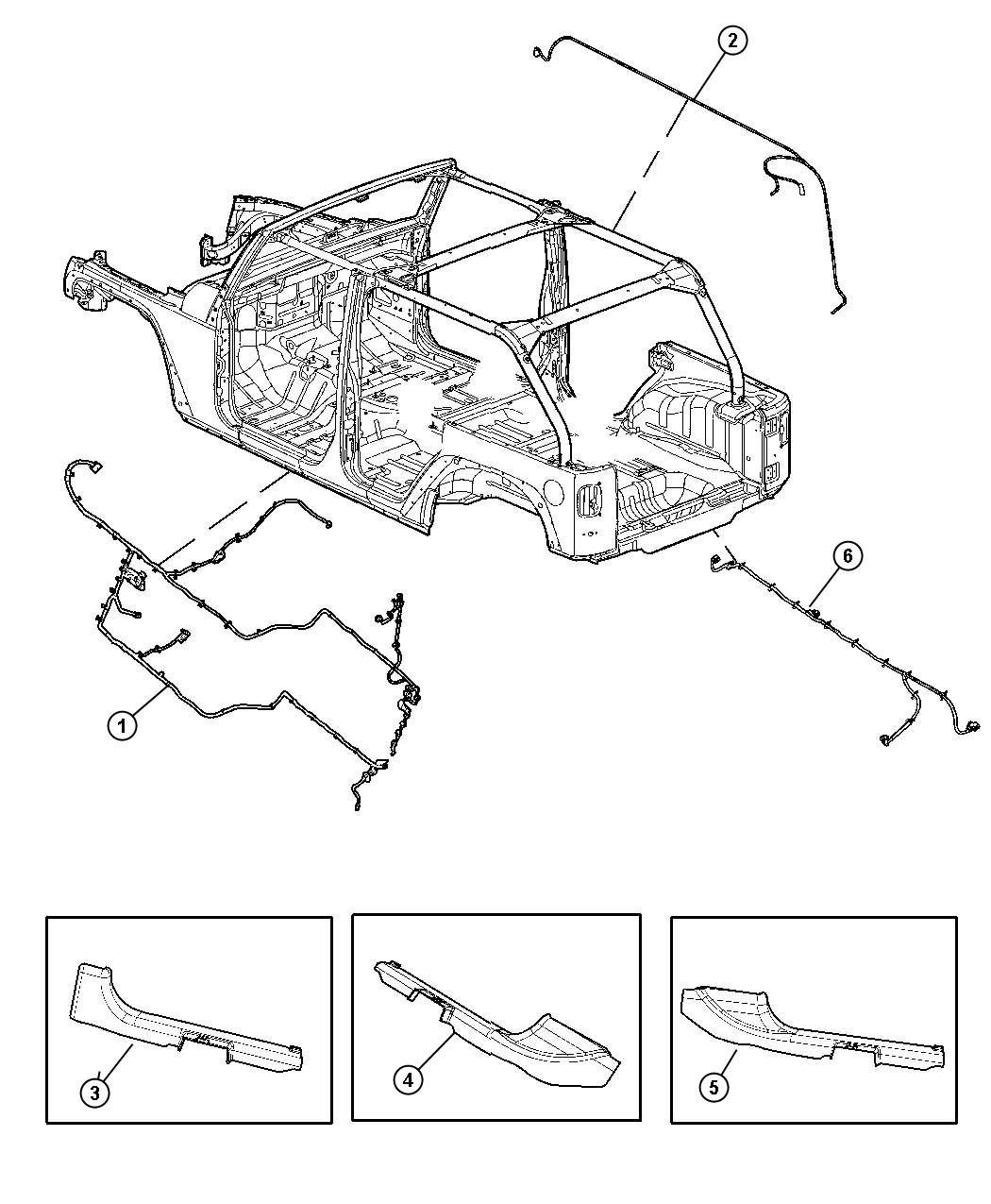 Jeep Wrangler Cover. Wiring protector. Right. [2nd row