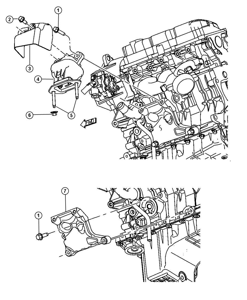 Dodge Challenger Bracket. Engine mount. Left, left side