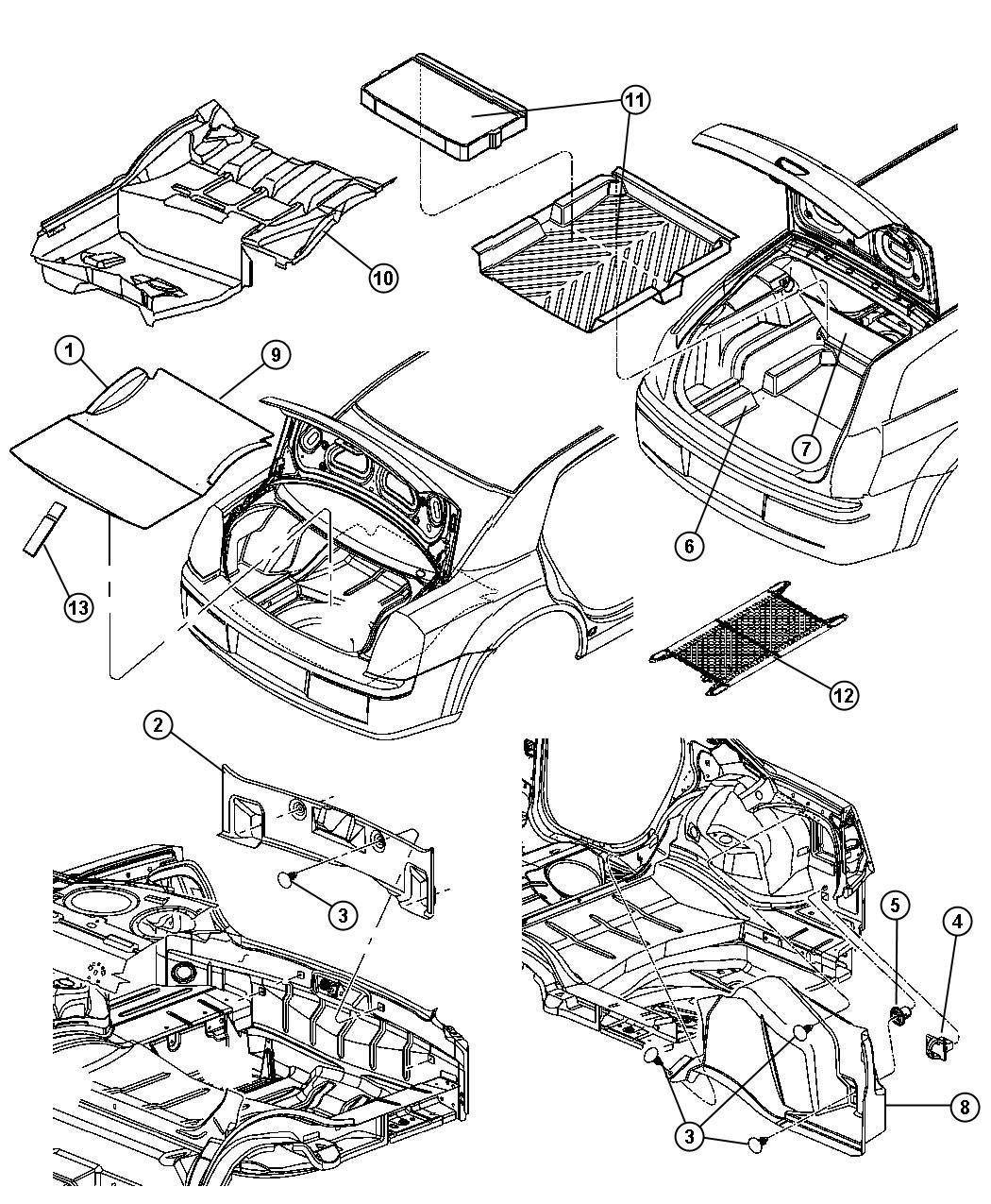 Chrysler 300 Carpet. Cargo floor. [j1]. Trim: [all trim