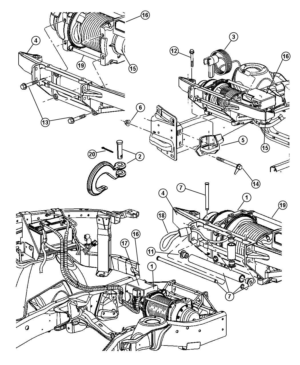 Dodge Ram 2500 Bracket. Winch. [front electric winch