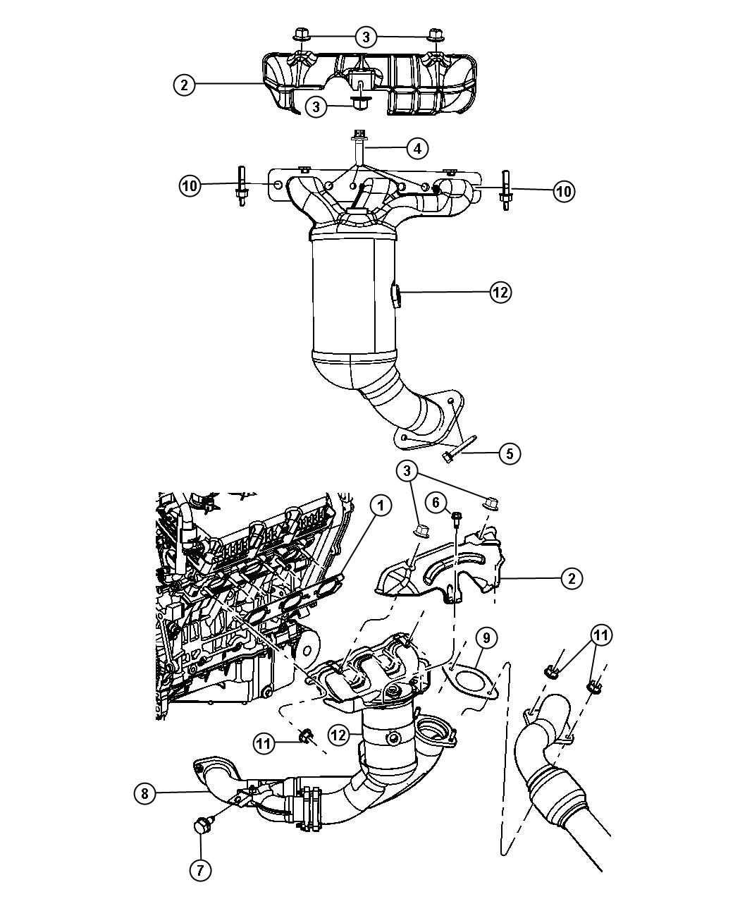 Chrysler Town & Country Pipe. Exhaust crossunder. Sheilds