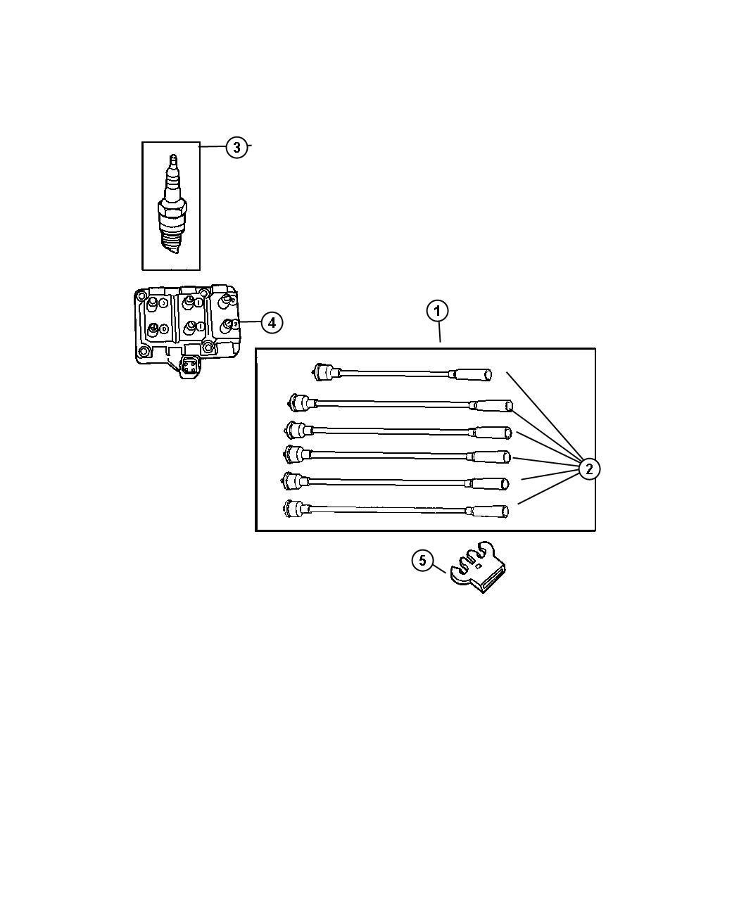 Jeep Wrangler Spark plug. Re-14-plp5. Wires