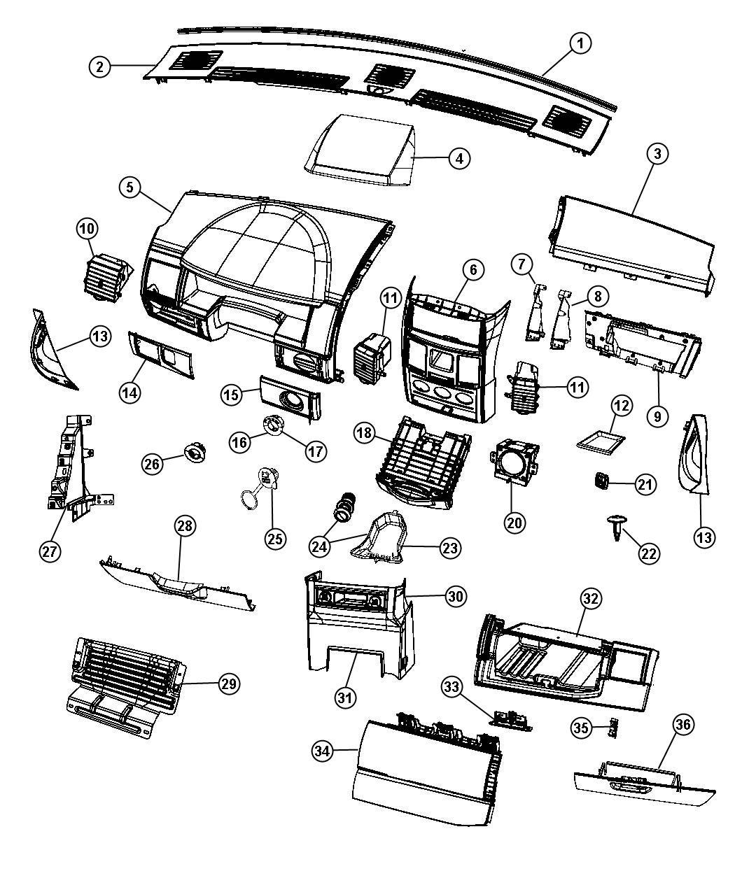 Dodge Grand Caravan Glove box. Instrument panel. Export
