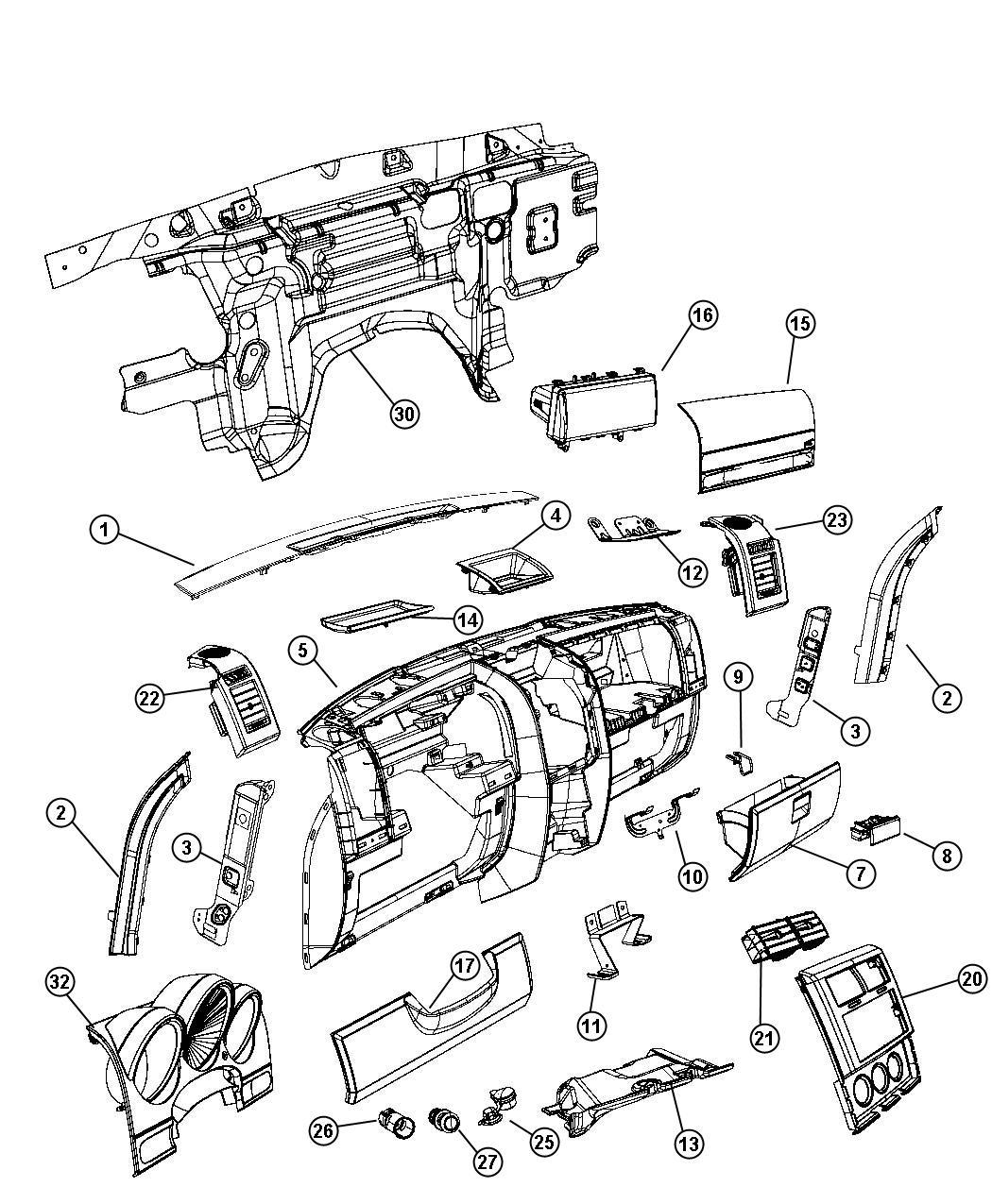 Dodge Nitro Glove Box Instrument Panel Dark Khaki