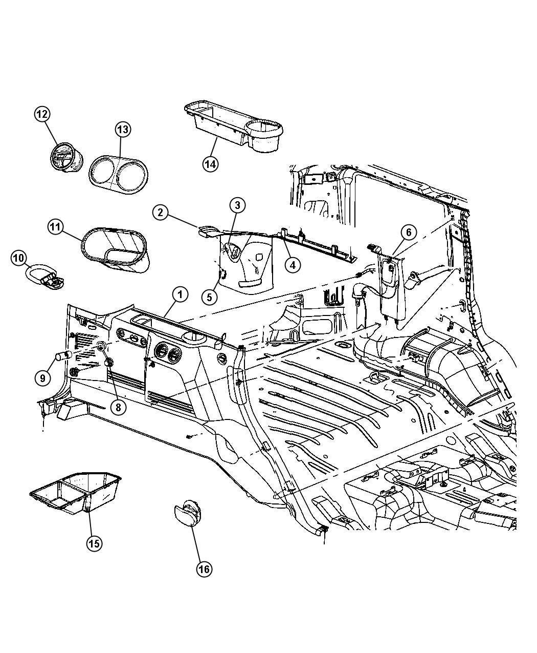 Jeep Commander Cupholder. Right. [dv]. Trim: [all trim