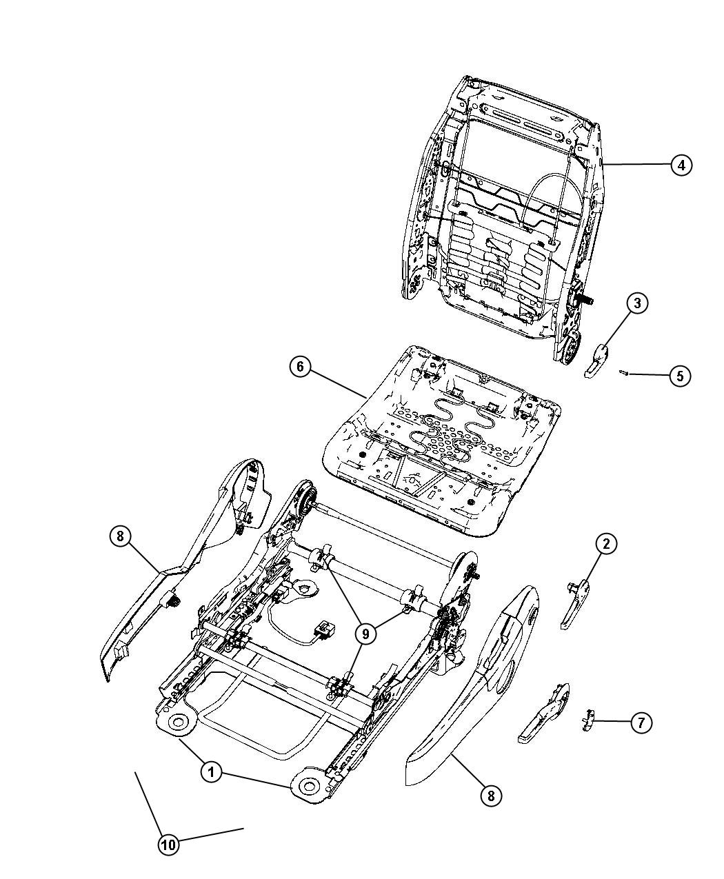 Chrysler Sebring Shield. Seat cushion. Outboard. [j1
