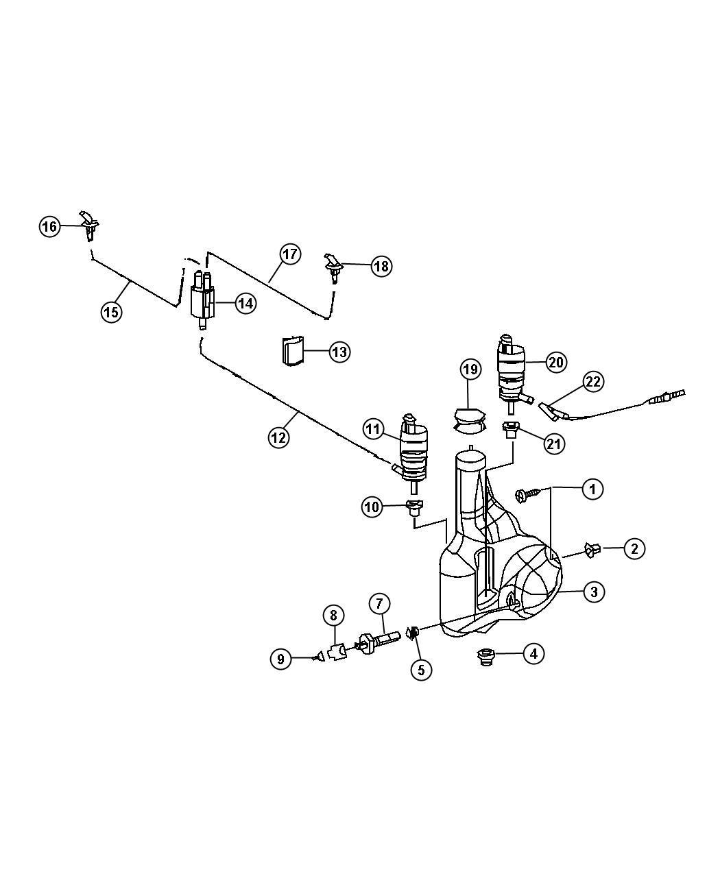 Dodge Sprinter Grommet Windshield Washer Pump With Rear