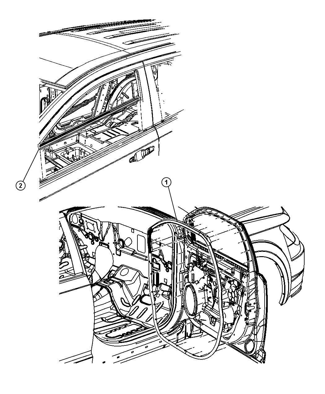 Dodge Journey Weatherstrip. Front door mounted. Left
