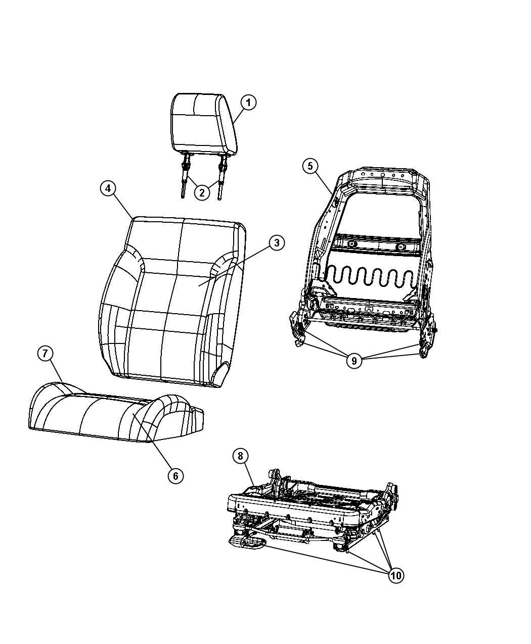 Dodge Journey Headrest. Front. Trim: [cloth low-back