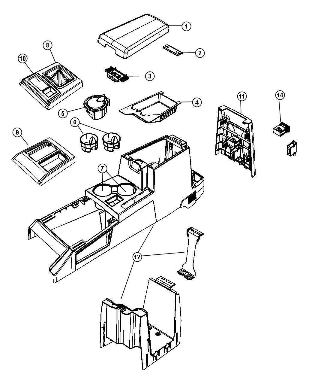 Jeep Liberty Console. Floor. Front. [ka]. Trim: [all trim