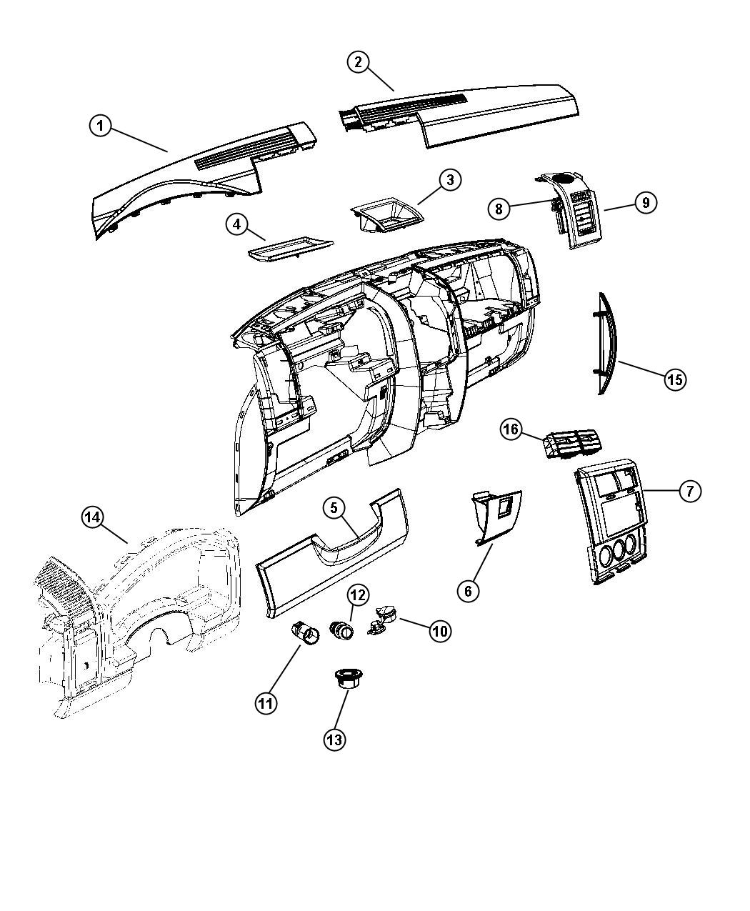 Jeep Liberty Bezel. Cluster. [ka], [radio/driver seat