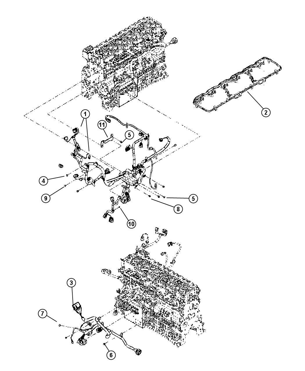 Dodge Ram 3500 Wiring. Engine. Tag #4990489, tagged
