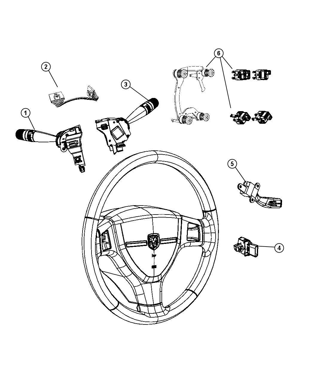 Chrysler Pt Cruiser Switch. Horn. [steering wheel]. Trim