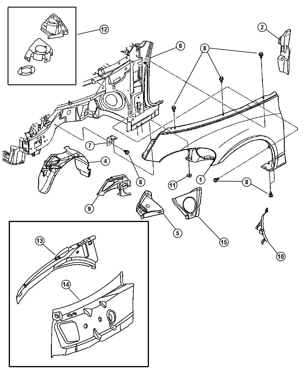 Chrysler Pt Cruiser Bracket. Fender mounting rear. Lshaped