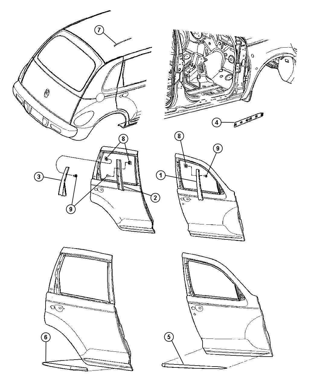 Chrysler Pt Cruiser Applique B Pillar Front Left Left