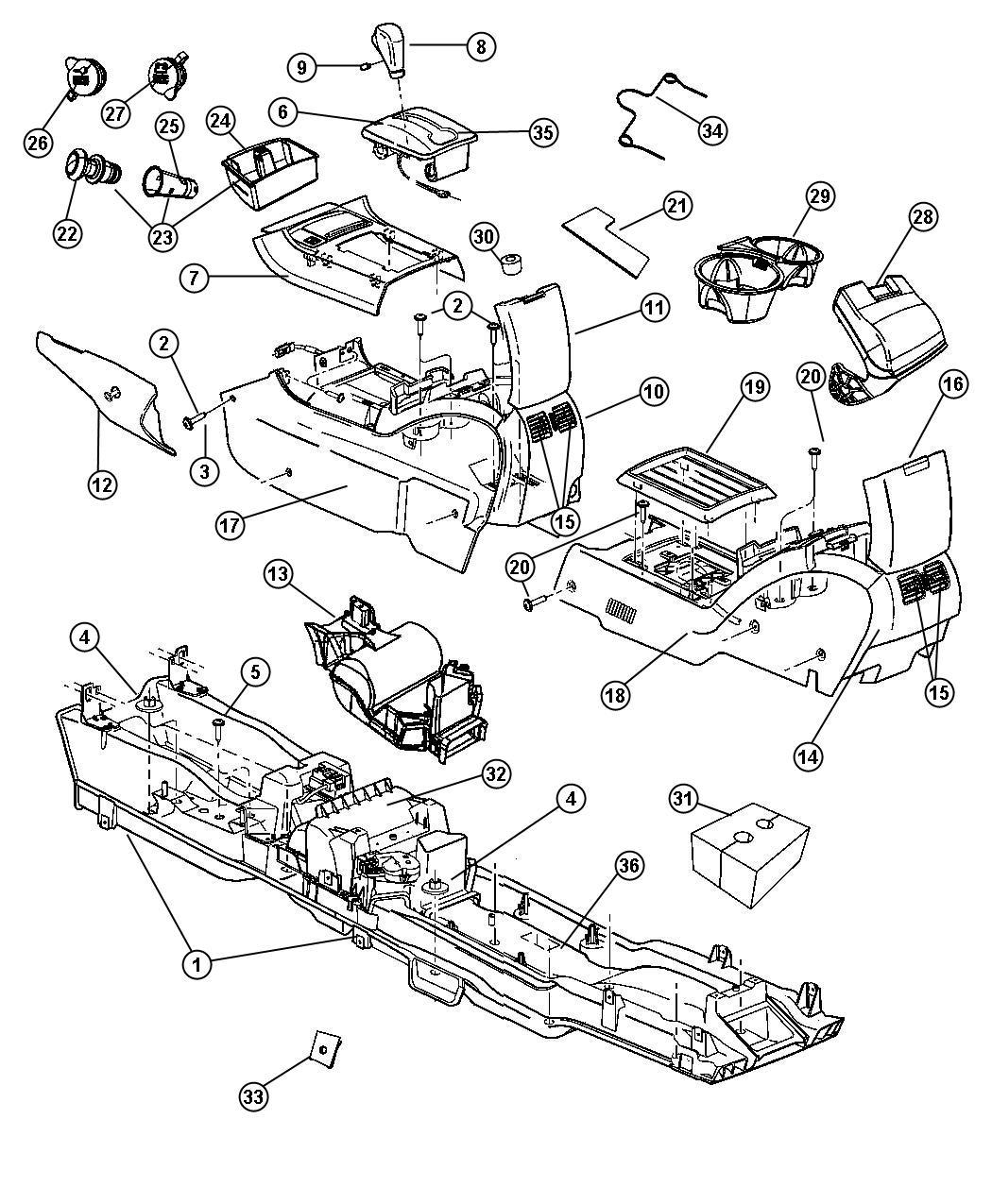 Chrysler Pacifica Bezel. Floor console. [da]. Trim: [all