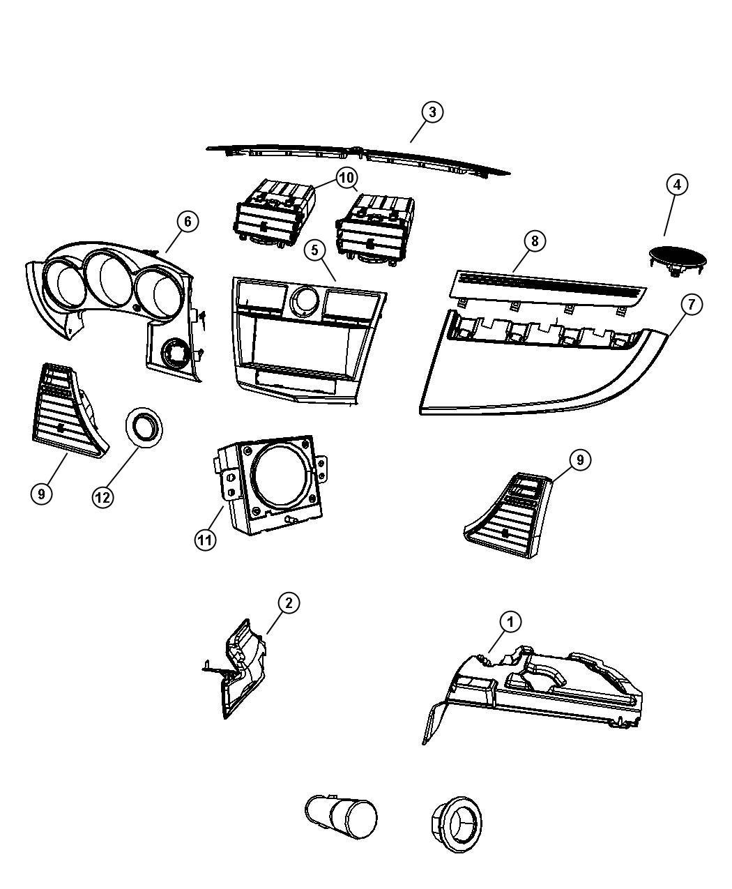 Chrysler Sebring Panel Instrument Panel Closeout Right