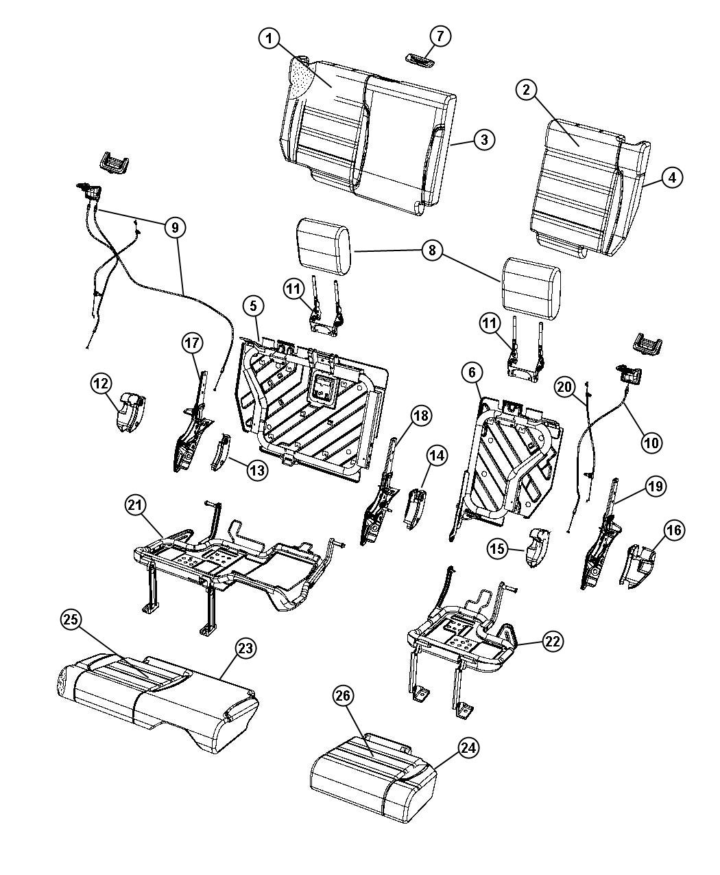 Jeep Wrangler Cover. Rear seat cushion. [dd]. Trim