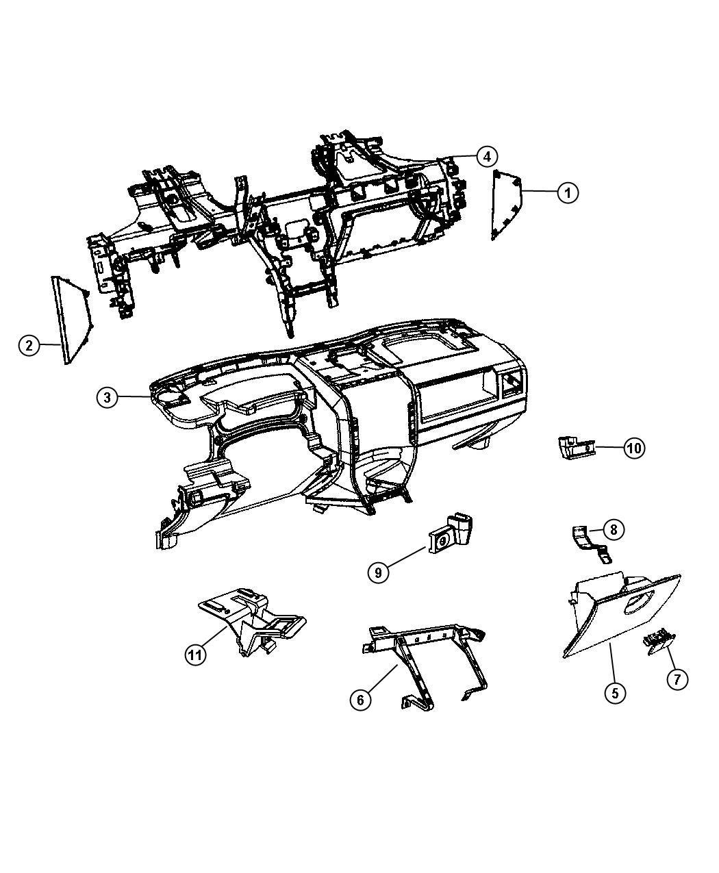 Jeep Patriot Cap. Instrument panel end. Right. Export. [ka