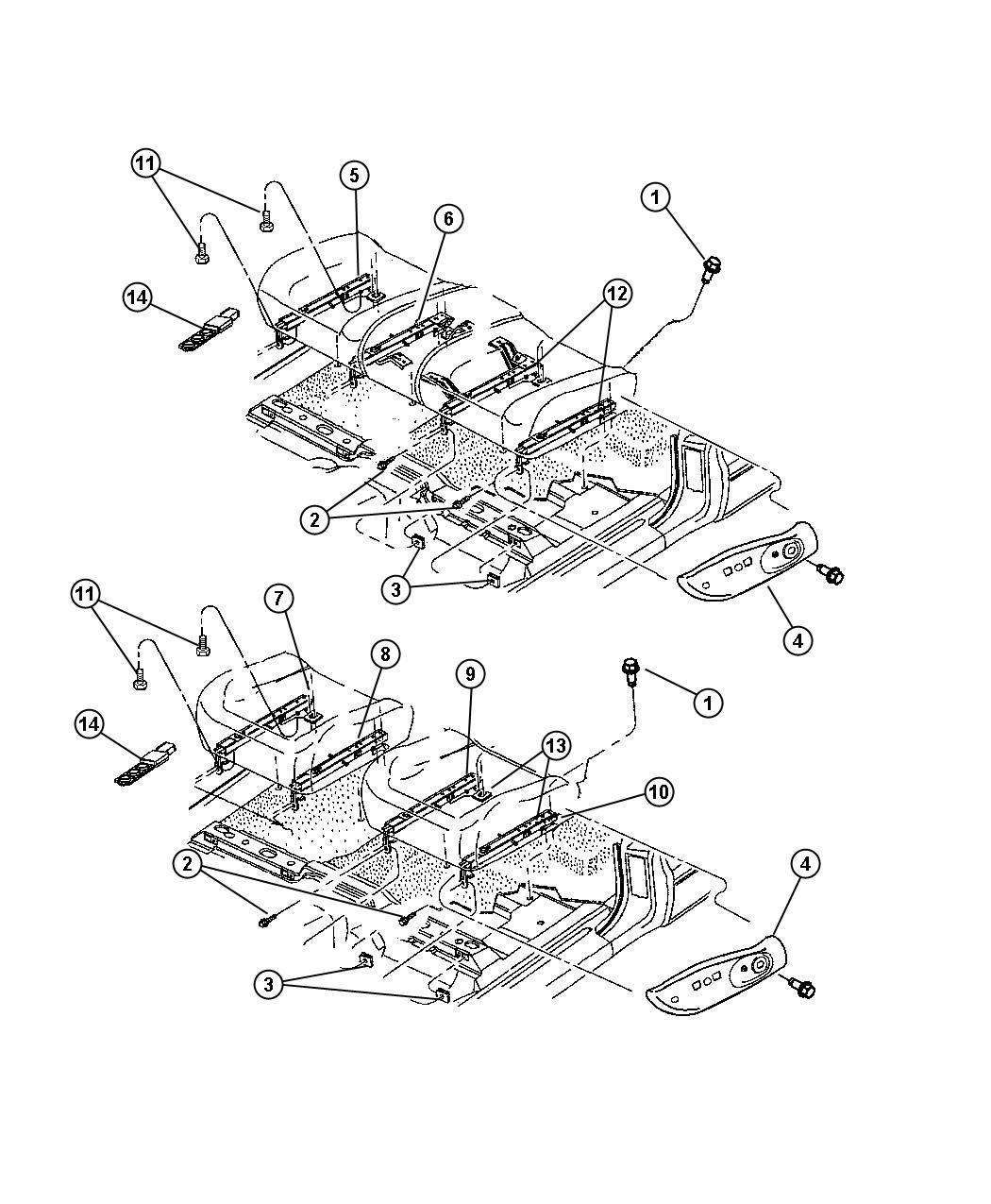 Dodge Dakota Adjuster. Manual seat. Passenger inboard