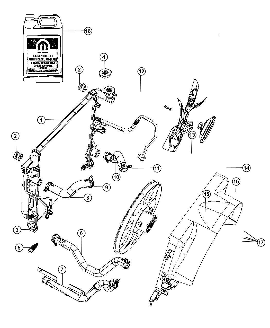 Dodge Nitro Hose. Radiator inlet. Connects to 55037884af