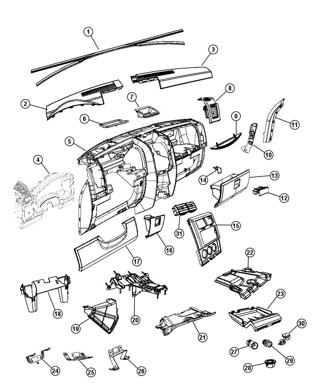 Jeep Liberty Bezel. Instrument panel. Center. Trim: [all