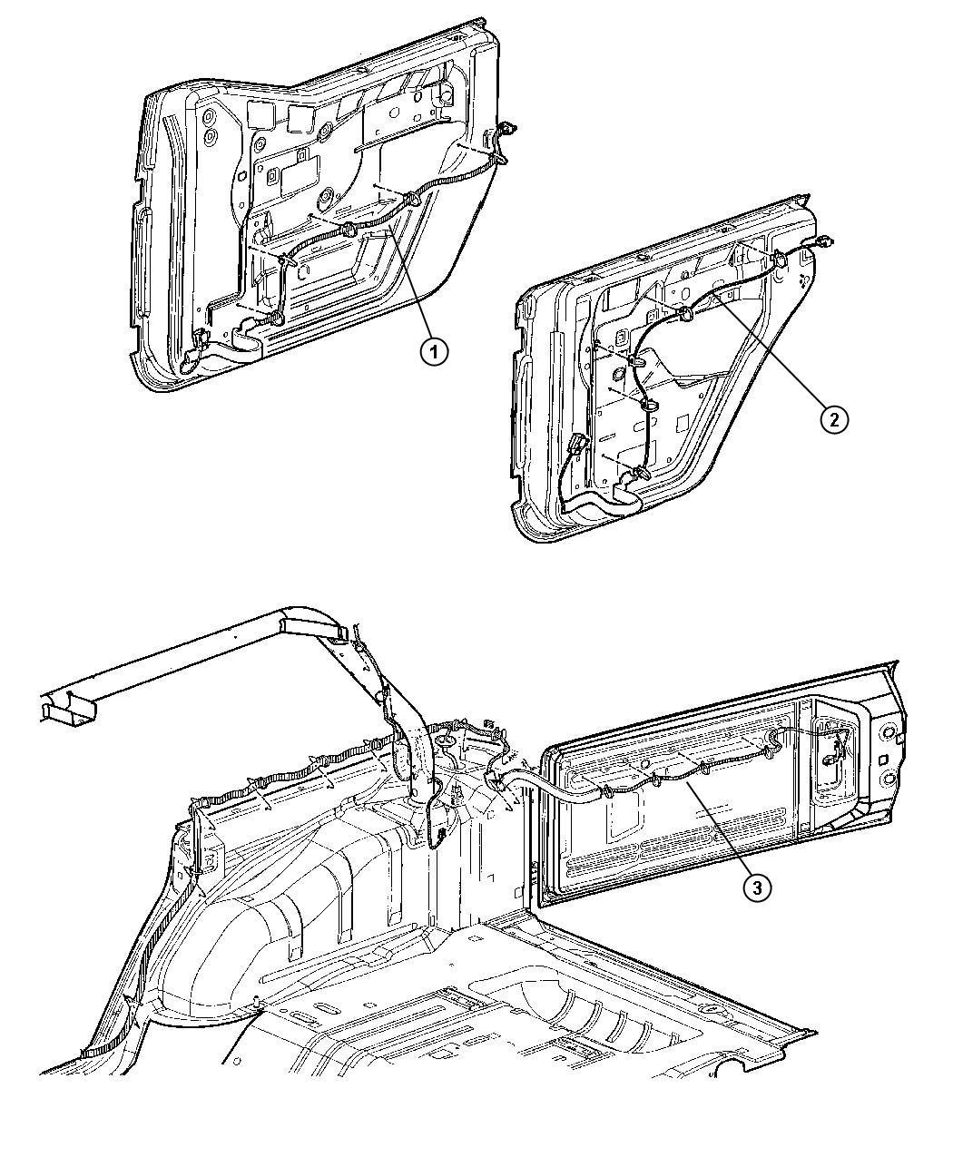 Jeep Wrangler Wiring. Rear door. Left. [[half metal doors