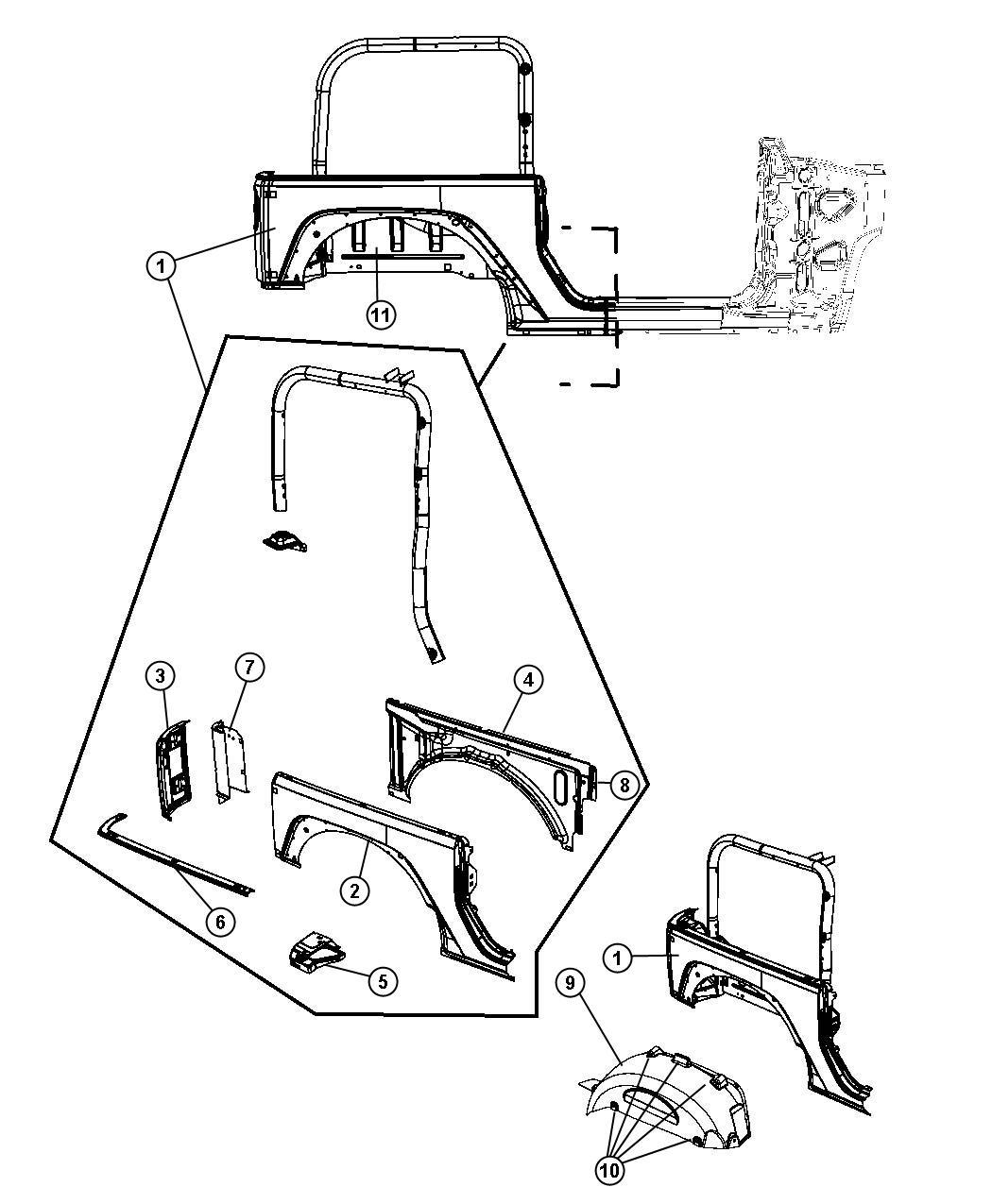 2011 Jeep Wrangler X 3.8L V6 A/T 4X4 Panel, panel kit