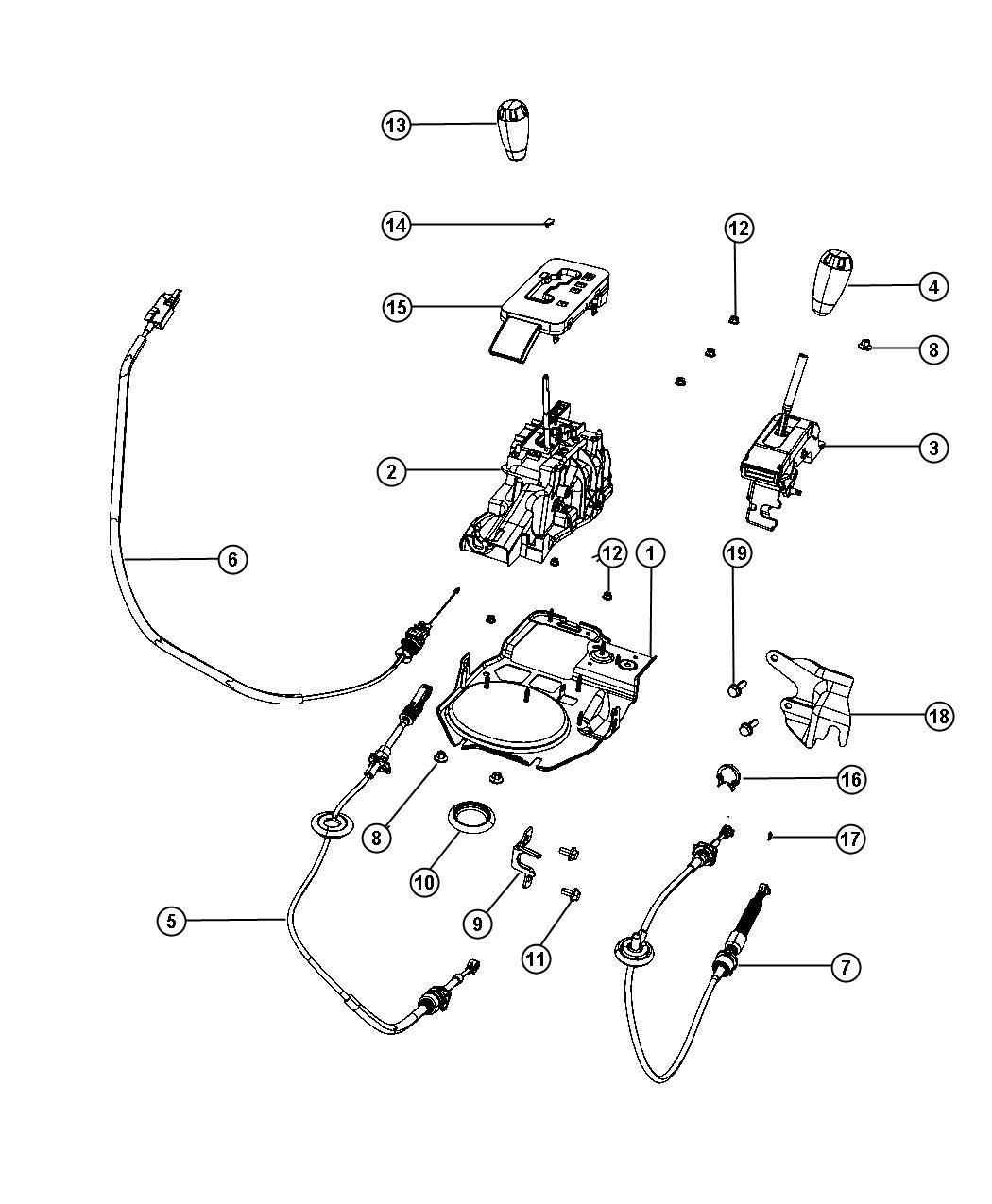 Jeep Wrangler Cable Brake Interlock Ignition Key